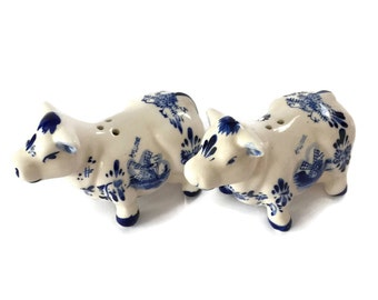 Delft Blue Cow Salt and Pepper Shakers