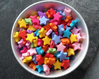 Spacer beads colored stars in acrylic for crafting and jewelry making, 9 mm