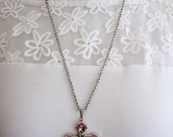 Cross Necklace Women Silver Metal 24 Inch Chain Christian Purple Stone Pendant Signed Whiting and Davis