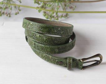 Women's Leather Belt, Forest Green Leather Belt for Women, Thin Belt for Dress, Skinny Belt, Waist Belt, Womans Dress Belt, 0.75 inch wide