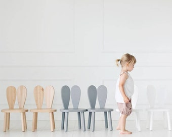 Wooden Kids chair, bunny chair / natural / grey / white/ LittleNOMAD