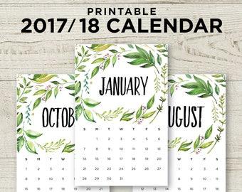 Floral 2018 Wall Calendar / Printable Calendar pdf / 2018 Printable Calendar Floral / A5 US Half Letter Calendar  / INSTANT DOWNLOAD