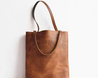 Handmade Leather Tote Bag Brown Simple Leather Tote Handbag Shopping Bag Leather Shopper Tote Leather Purses Women Tote Bags  Shoulder Bag