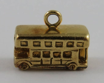 Double Decker Bus 18K Gold Vintage Charm For Bracelet