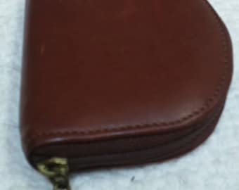 Longaberger brown pebbled leather coin purse zip around
