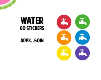 Water Utility Icon Stickers   60 Kiss Cut Stickers   IC045