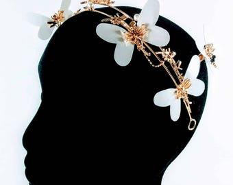 Gold & White Butterfly Statement Headband