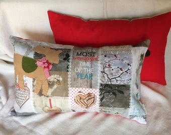 "Pillow Cover 30x50cm (12""x20"") White Christmas, Throw Pillow, Winter Decoration, Reindeer Decoration, Cottage style, Patchwork decor"