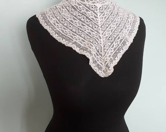 Antique Edwardian lace collar or chemisette, modesty panel, pale cream colour with high neck for under blouses dresses etc in good condition