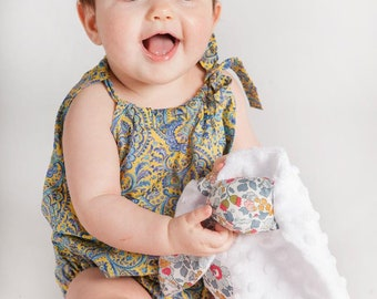 SIENNA Handmade Liberty Print Sleeveless Playsuit with Tie Neck Babies Toddlers