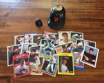 Vintage SF Giants Mini-Helmets and 20 Cards/2 Different Size Mini-Helmets and Cards from the 80's-90's/Instant Collection!/Great Gift!