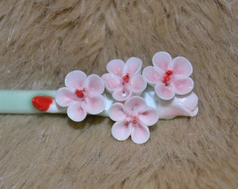 Pink Flower hair stick chinese hair stick bun maker hand painted porcelain hair stick pink hair maker wedding hair accessary crystal hair