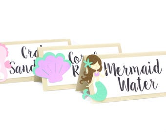 Under The Sea Food Labels, Mermaid Food Labels, Seashell Food Labels, Mermaid Baby Shower, Mermaid Party, Under The Sea Party, Food tents