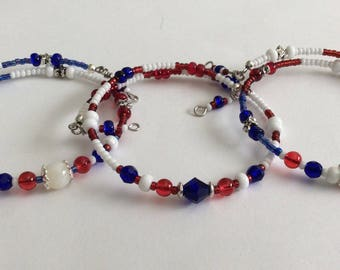 RedWhiteBlue Bracelets, Patriotic Beaded bracelets, Memory Wire Bracelet, crystal Bracelets, beaded bracelets, bracelets, memory wire wrap