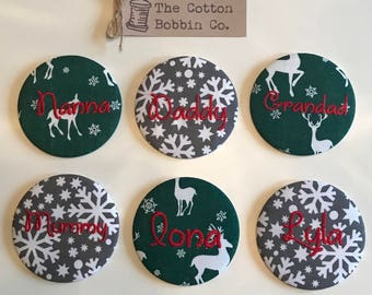 Set of 6 Personalised Christmas Badge Place Name Table Settings Large 77cm Embroidered Fabric Table Setting Christmas Badges