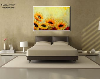 Paintings on Canvas Art, Sunflower Painting, Extra Large Wall Art Painting, Contemporary Art, Sunflower Art Original Painting