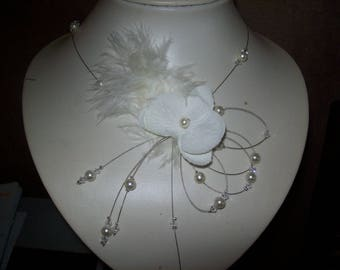 Bridal necklace wedding party evening ceremony ivory beaded Orchid ivory / transparent feather