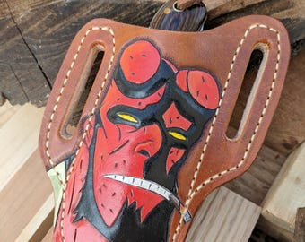 Tooled Leather Pocket Knife Sheath Painted Hellboy Fan Art Design