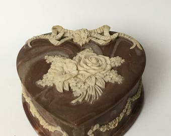 Genuine Incolay Stone Handcrafted Mauve Heart Shaped JewelryTrinket Hinged Box Roses and Ribbon