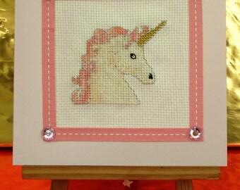 Embroidered Unicorn card