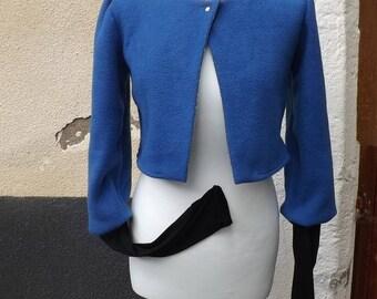 Blue fleece mittens Sanlivine sleeve bolero jacket