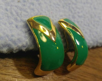 Kelly Green Enamel on Gold Clip Earrings