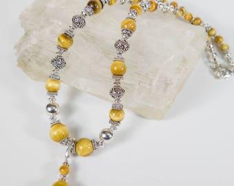 Golden Tiger Eye Sterling Silver Necklace
