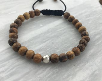 Natural 6mm Light Brown Robles Wood Beads with 6mm Sterling Silver Bead on Black Nylon Cord Bracelet