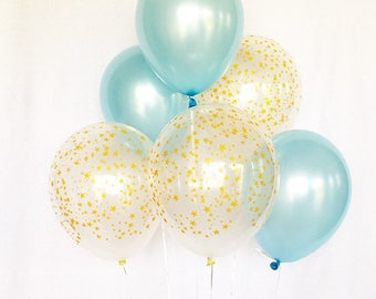 Blue and Gold Star Latex Balloons~Twinkle Twinkle Little Star Baby Shower~ Twinkle Little Star First Birthday~It's a Boy~Star Balloons