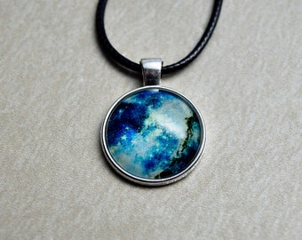 Blue Cosmos: Glow in the dark Glass Cabochon Pendant / Outer Space / Galaxy / Stars / Nebula / Gifts for Him or Her