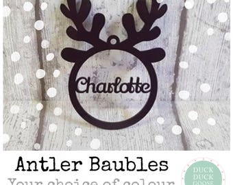 Personalised Christmas Bauble with Antlers by Duck Duck Goose