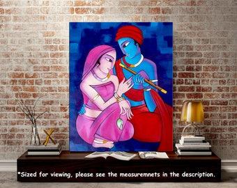 Radha Krishna Painting, Indian contemporary art, Couple painting Acrylic Portrait, Figurative art, Modern Wall art Home decor, Nikki Chauhan