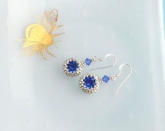 Sapphire Blue Crystal Earrings, Small Drop Earrings, Sterling Silver Earrings, September Birthstone Gift, Dainty Dangle Earrings