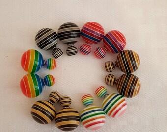 Stripe Double Pearl Stud Earrings - Stripe Earrings - Stripe Stud Earrings - Rainbow Earrings - Black Earrings - Brown Earrings - Stripes