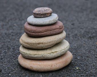 Wabi-Sabi Home Decor - Flat Stones - Stacking Rocks - Meditation Altar - Relaxation - Baltic Sea Zen