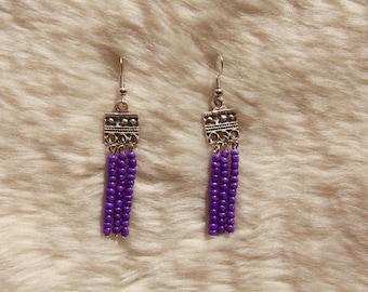 Silver & Purple Handmade Beaded Earrings