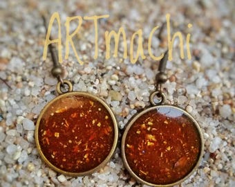 resin and curry earrings, real curry powder from india earrings, handmade curry earrings, real indian curry powder, summer earrings, natural