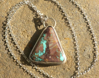 Natural Bisbee Ribbon Turquoise, Sterling Silver, Turquoise, Robin's Egg Blue, Triangular, Pendant
