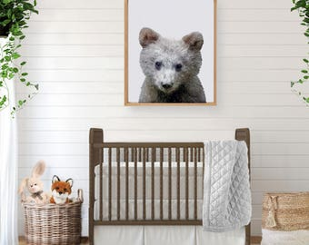 Woodland Creatures, Forest Animal, Bear Print, Woodland Baby Shower, Woodland Wall Art, Bear, Large Poster, Woodland Nursery Art