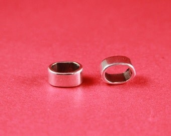 R1/10 MADE IN EUROPE 4 zamak ring sliders, licorice ring slider, 10x6mm  sliders, silver ring sliders(ablz168s) Qty4