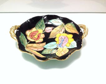 Vintage french Vallauris ceramic bowl, mid century french home decor, made in france