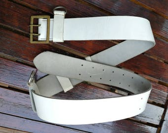 Handmade Genuine Leather belt, military parade, white leather, vintage belt