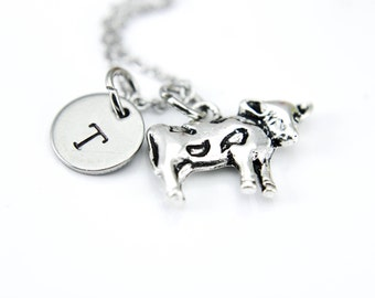 Cow Necklace, Cow Charm, Farmer Gift, Farm Animal Charm, Personalized Necklace, Initial Necklace, Initial Charm, Customized, Inspirational