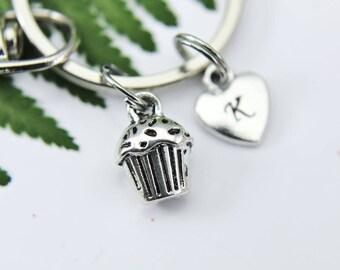 Cupcake Keychain, Cupcake Charm, Foodie Gift, Baker Charm, Personalized Keychain, Initial Keychain, Initial Charm, Customized, Monogram