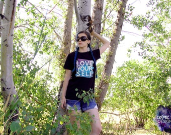 Love Yourself Short Sleeve Unisex T-Shirt - Cotton Jersey Knit Tee Shirt - Abstract Watercolor Gradient - Affirmation Inspiration Quote