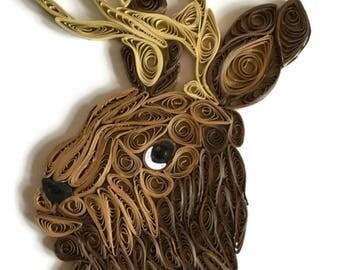 Jackalope Card, Fantasy Animal, Horned Rabbit, Mythical Creature, Jackalope Portrait, Make Believe Bunny, Paper Artistry, Quilled Jackalope