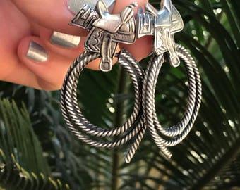 Vintage Cowgirl Earrings // Southwest Wild West Earrings // Saddle Lasso Horse Earrings // 90s Dangle Earrings // JJ Jonette Jewelry