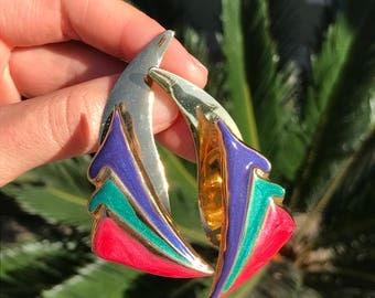 Vintage Abstract Earrings // Geometric Earrings // 80s Earrings 90s Earrings // Multi Color Enamel Triangle Fan // Ruffle Earrings