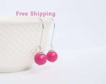 Hot pink earrings, Fuschia earrings for bridesmaids, Fish hook earrings, Hot pink dangle earrings, Fuchsia earrings, Fuschia pink earrings