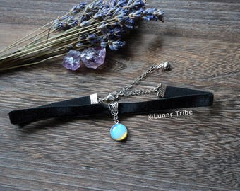 Black velvet choker necklace with opalite pendant, black velvet necklace, october birthstone, crystal choker necklace, simple choker